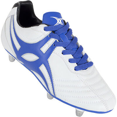 Clearance Line New Gilbert Sidestep XV White Blue Lo Cut Rugby Boots Sizes 2- 5