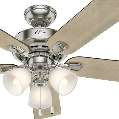 Hunter Fan 52 inch Traditional Brushed Nickel Indoor Ceiling Fan With Light Kit
