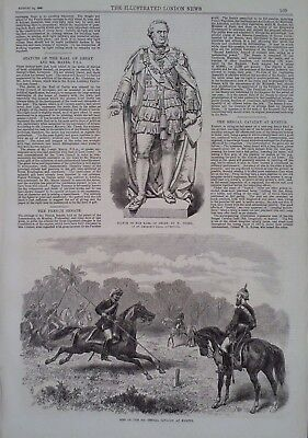 1869 PRINT MEN OF THE 8th BENGAL CAVALRY AT KURTUB - STATUE OF THE EARL OF DERBY