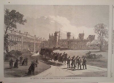 1869 Print The Late Earl Of Derby : The Funeral Procession Leaves Knowsley House