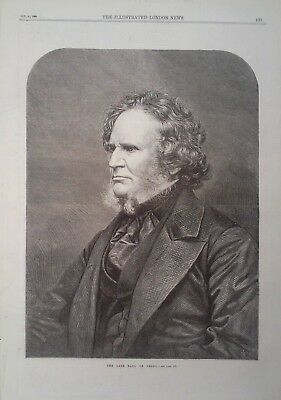 1869 Print The Late Earl Of Derby