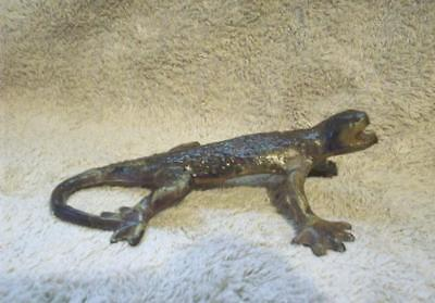 Cast Iron Lizard Sculpture - Beautiful Coloring - Heavy Paperweight