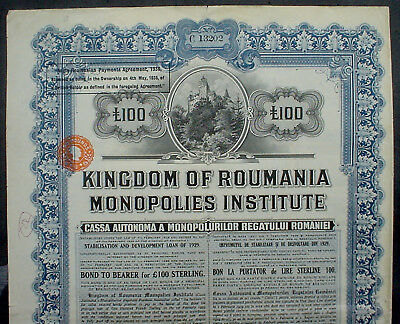 Kingdom of Romania 7% 100 £ Sterling Bond 1929 uncancelled + coupons