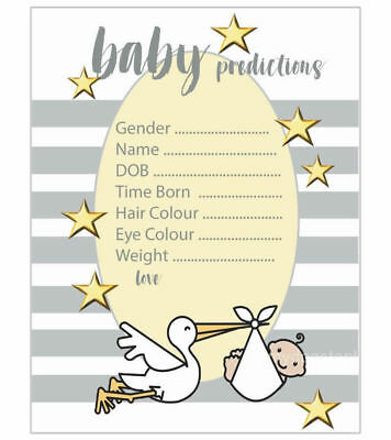 Baby Shower Games 10 X A6 Prediction & Advice Cards Grey Stripe Mum To Be Unisex