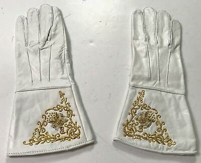 Civil War Us Union Embroidered Leather Gauntlets Gloves-Large