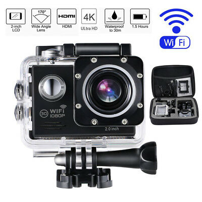 OUTAD 4K UHD 16MP Sports Camera WIFI Mini DV Carry Case Bundle Action Camcorder