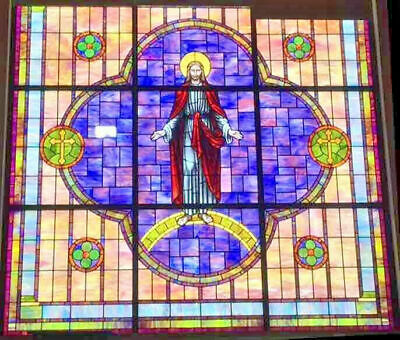 Antique Stained Glass Religious Jesus Window - 8 FEET TALL, 8 FEET WIDE