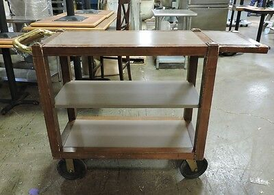 3-Tier Wooden Utility Cart with Wheels and Extender