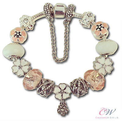 Girls Silver Plated Flower Charm Bracelet or Bangle-Peach Charms. For Child