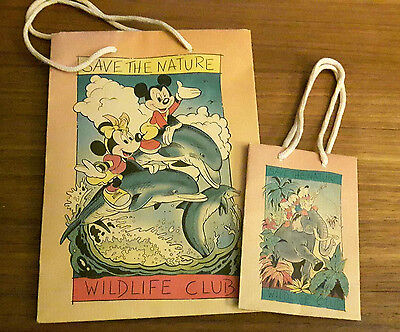 DISNEY - SAVE THE NATURE - WILDLIFE CLUB - 2 Papier-Tragetaschen (Mickey; Track)