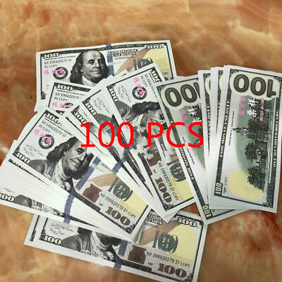 100 PCS $100 Bill Novelty Funny Prop Play Money Movies Accountant Practice Tools