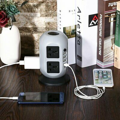 Vertical Tower Mains Power Strip Extension 8 Socket with 4 USB Adapter UK Plug