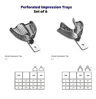 Restorative Dentistry Metallic Perforated Impression trays Set of 6 S,M,L New CE