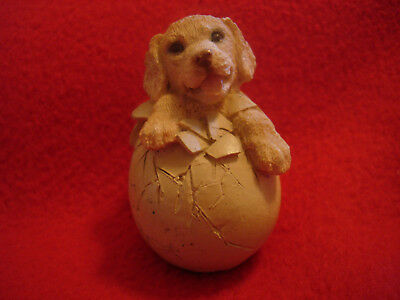 Ceramic Puppy Dog Hatching from Egg Figurine Corlett Collectibles 1993