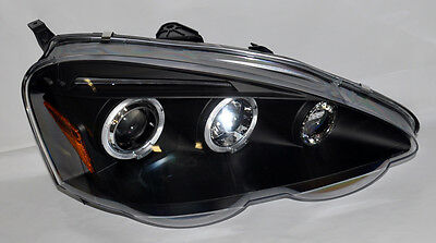 Black Projector Halo Angel Eye Headlights Pair for Acura RSX 02-04 Integra DC5