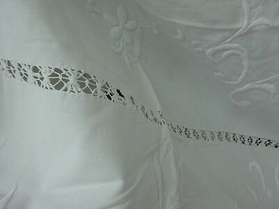 Large Embroidered Sheet / Tablecloth Vintage Antique Edwardian White