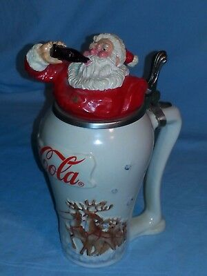 "Limited Edition COCA-COLA Collector Stein SANTA ""TRAVEL REFRESHED"" Germany COA"