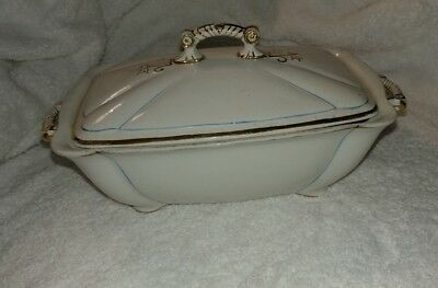 Antique Adamantine China Small Tureen with Lid - Blue and Gold Accents