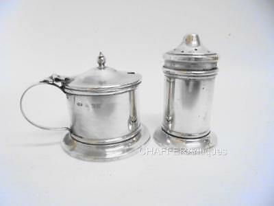 Solid SILVER Mustard Pot & Pepperette with Original Bristol Blue Liners 1941