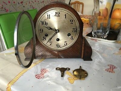 VINTAGE WOODEN Mantel Clock Working But Needs Some Attention.
