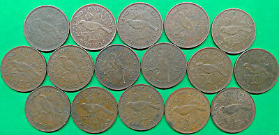 Lot of 16 Different Old New Zealand Large Penny Coins dated 1940-1964 !!