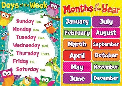 Months Of The Year And Days Of Week A4 Childrens Kids Todlers Education Posters