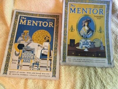 2 The Mentor Magazines June 1926 & Sept 1927 - Queen Of Sheba Antique Collecting