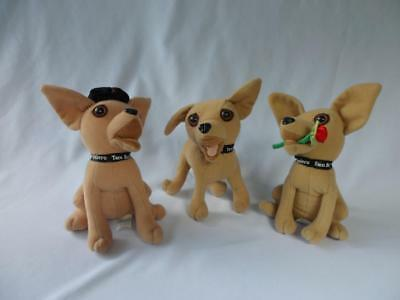 Taco Bell Chihuahua Plush Lot of 3 Stuffed Animal Promotional Toys Rose Hat