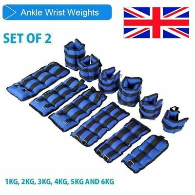 UK Resist Ankle Wrist Weights Gym Fitness Adjustable Men Strength Training 1-6KG