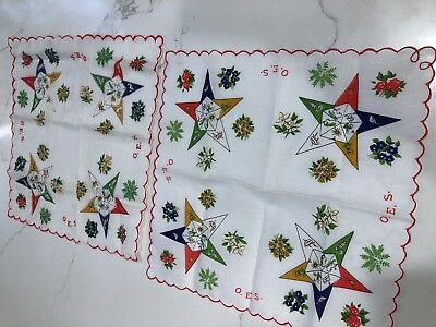 Lot of TWO Vintage Novelty Print Hankies OES Order of the Eastern Star Masonic