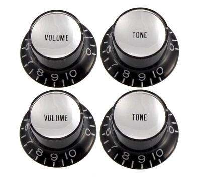 Black Reflector Knobs- fit USA Split Shaft Pots Fit Gibson® Guitars 2-Vol 2-Tone