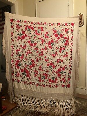 Antique Vintage Chinese Canton Silk Spanish Piano Shawl Embroidery 💐🌹💖🌹💐