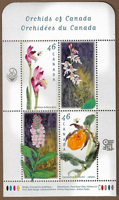 Canada Stamps - Souvenir sheet of 4 - Flowers, Canadian Orchids #1790b - MNH