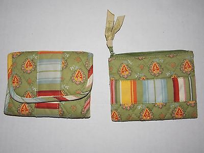 Longaberger Wallet & Coin Purse Light Green with Multi Colored Stripes