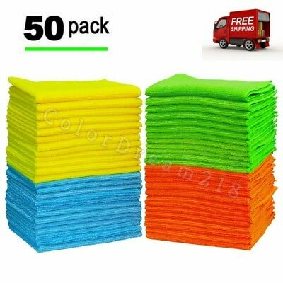 Microfiber Cleaning Cloth Dish Car Wash Dust Wipe Polish Drying Towel Rags 50pk