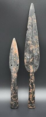Group of 2 Medieval period iron spe@r heads 12th - 15th century AD