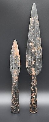 Group of 2 intact Medieval period iron spe@r heads 12th - 15th century AD