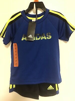 New Adidas Boys Size 2T 2 Piece Active Set Short Sleeve T-Shirt Short