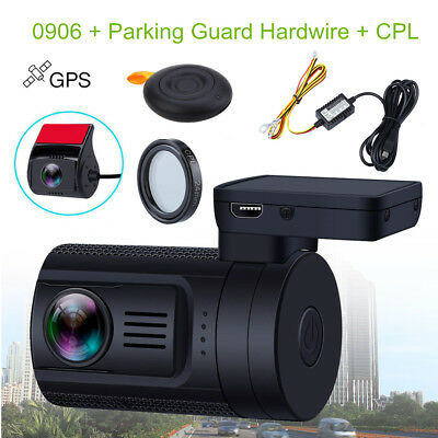 0906 HD 1080P Dual Lens Car Dash Camera GPS Wide Angle+ CPL+Parking Hardwire Kit