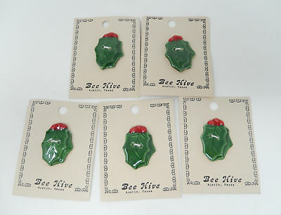 Bee Hive Christmas Holly Berry Buttons