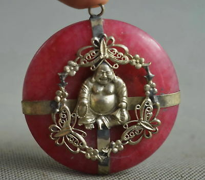Collectable Handwork Miao Silver Carve Buddha Inlay Agate Ancient Lucky Pendant