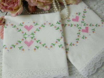 Vintage SNOW white PINK hearts LATTICE garland embroidered PILLOWCASES pair