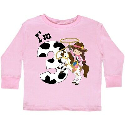 187a9f6d9 Inktastic I'm Three-cowgirl Riding Horse Birthday Toddler Long Sleeve T- Shirt