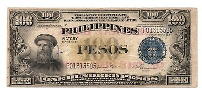 100 Pesos US Philippine Victory Note 1949 Series 66 Pick 123c FREE Shipping