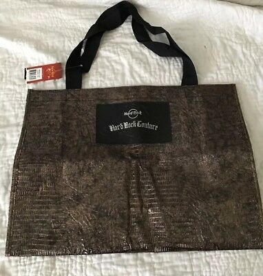 *HARD ROCK CAFE Couture Vinyl Lg BLACK & GOLD Tote Bag*NWT*13x17x6*Faux Snake*