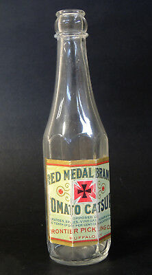 Antique vtg early 1900s RED MEDAL CATSUP Bottle w/ LABEL Frontier Co Buffalo NY