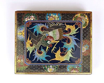 1930's Japanese Gilt Cloisonne Enamel Shippo Box with Phoenix & Butterfly