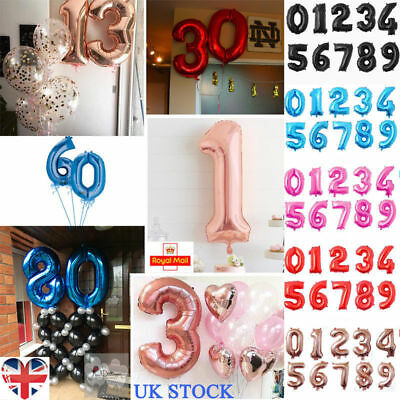 UK 32'' Number Shape Helium Foil Ballons Wedding Party Balloons Birthday Decor