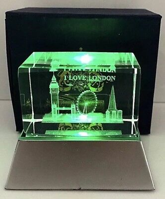 London 3D Skyline Crystal Showpiece With Changing Lights Souvenir Gift In Box