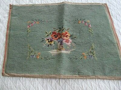 Antique Needlepoint Featuring Floral Vase On Shelf Surrounded By A Floral Motif